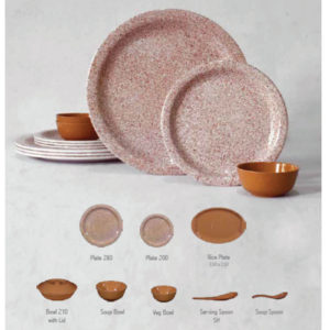 HARMONY MALEMINE COIR AND BROWN DOT DINNER SET 40 PCS