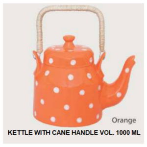 KETTLE WITH CANE HANDLE VOL. 1000 ML ORANGE