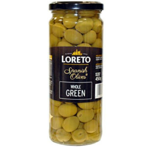 loreto whole green olives 450g