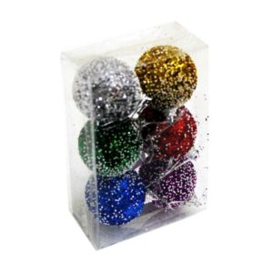 COLORFUL GLITTER HANGING BALLS 4'' PK 6
