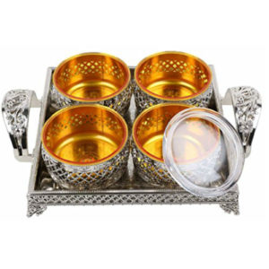 SELVEL VOLVO BOWLS WITH TRAY-4PCS SET2
